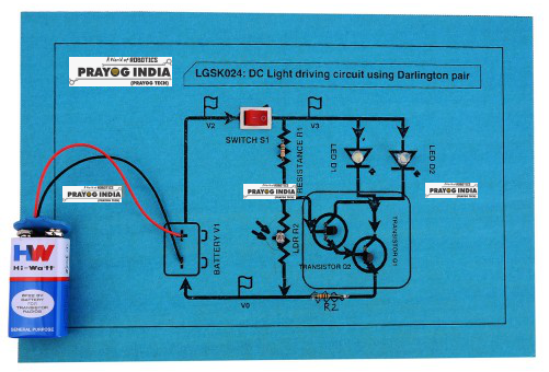 DC light driving circuit using Darlington pair
